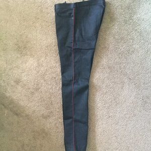 NWOT BURBERRY JEANS WITH RED/BLACK SIDE WEAVE DETA
